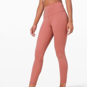 """Lululemon Brier Rose Pink High Waist Wunder Under 28"""" Leggings Size: 8"""